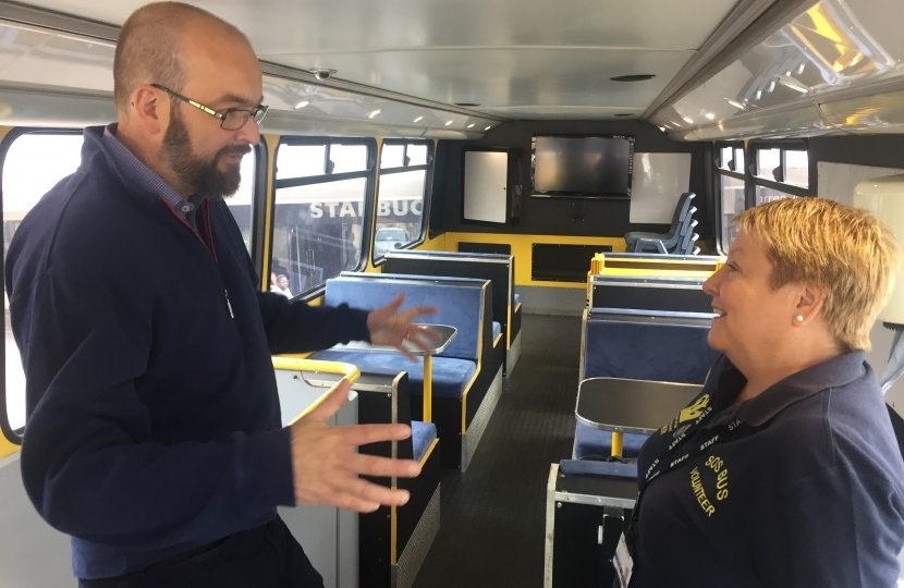 James having a tour of the SOS bus