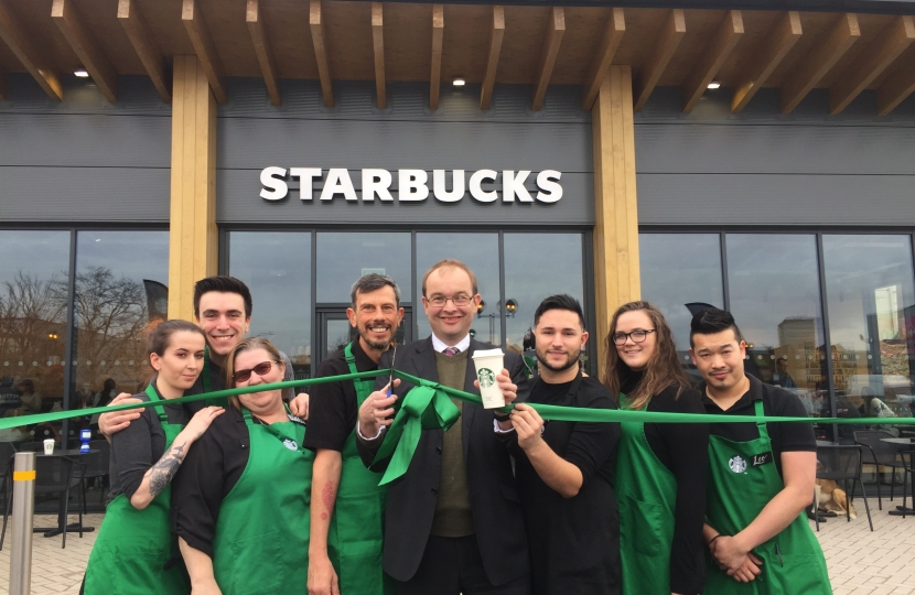 James Duddridge opening new drive thru starbucks
