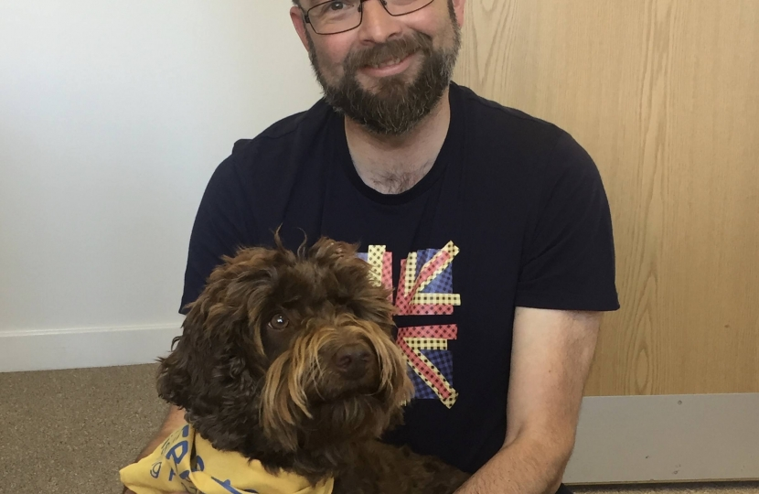 James Duddridge MP with Rolo, a rescue therapy dog