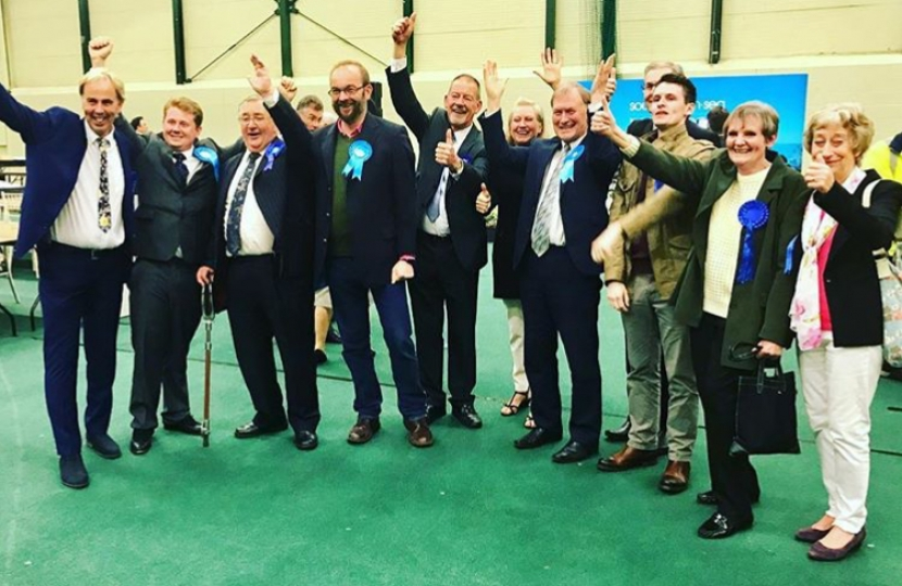James celebrating with the elected local councillors
