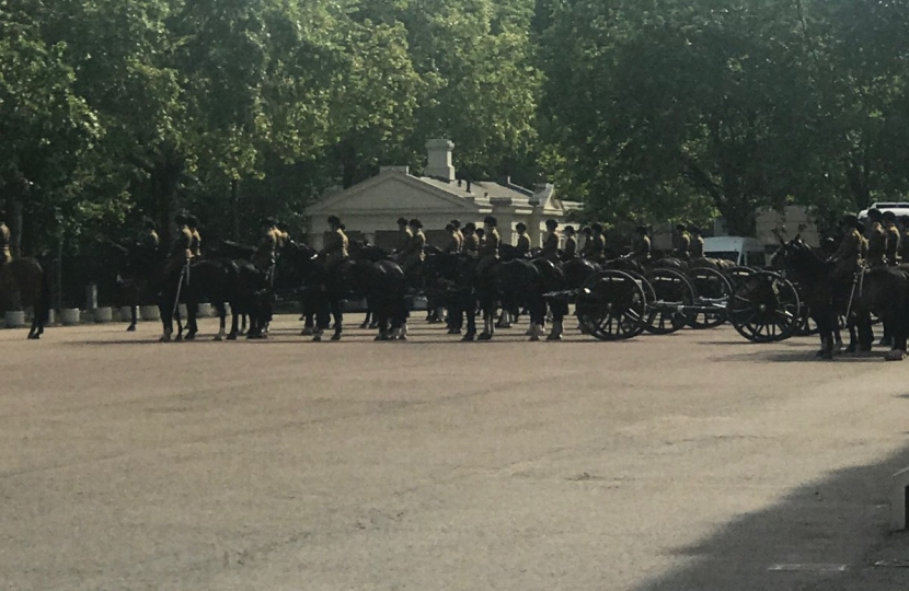 The Queen's Guard practicing a drill at the Wellington Barracks on Thursday