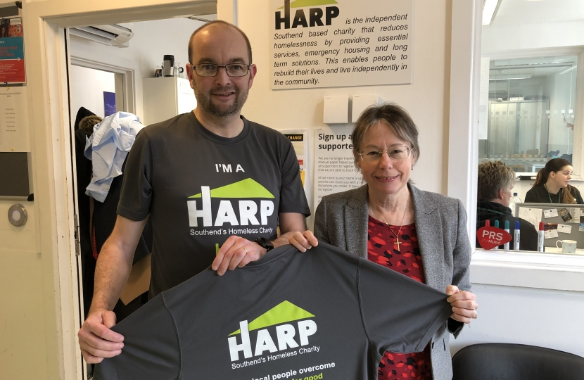 James Duddridge MP and HARP's Chief Executive Jackie Bliss during a recent visit to the charity's Bradbury Day Centre in York Road Southend